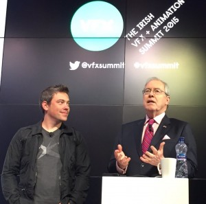 US Ambassador Kevin O'Malley with Kevin Bailie (CEO of Atomic Fiction) at the VFX and Animation Summit